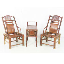 Antique Chinese Asian Woven Bamboo 3 Piece Tea Set Pair Of Chairs And Side Table