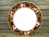 Avalon by Vitromaster Dinner Plate Multicolor Fruit Rim Black & Tan Rim L257