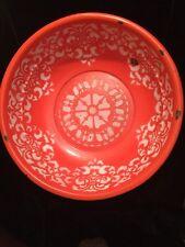 Vintage or Antique Chinese Enamel Wash Basin Orange CHUNG HWA Shanghai Pelican