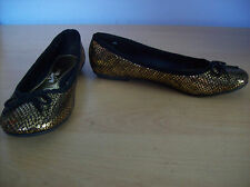 Shoes Ladies Gold Mock Snakeskin Pattern by George UK Size 4 EUR Size 37