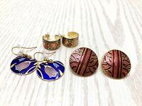 Vintage Lot 3 Pairs Pierced Cloisonne Earrings Gold Tone Red Blue Purple 1970-80