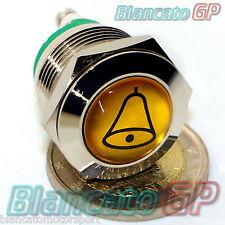 PULSANTE 19mm PER CAMPANELLO CON SIMBOLO CAMPANA IP65 OTTONE CROMATO doorbell