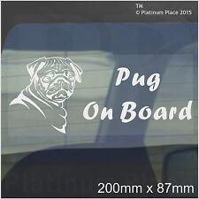 Pug Dog On Board Sticker-Car,Van,Truck-Self Adhesive Pet Window Sign