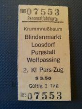 Eisenbahn Fahrkarte  1978  Krummnußbaum - Wolfpassing