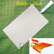 """9.4""""x14"""" Gray PVC Patch + Glue for Inflatable Boat Kayak Raft Bouncer Water Toy"""