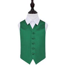 "Boys Waistcoat High Quality Plain Solid Formal Tuxedo Wedding Page Boy Vest Emerald Green Age 11 to 12 - 32"""