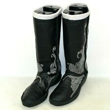 Puma Monsoon Leather Embroidered Boots Womens Size 9 M US Black 344953 01