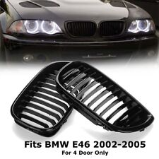 Gloss Black Kidney Grille Grill For BMW E46 3-Series 4DOOR 02-05 2002-2005