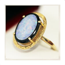 Art Deco Handmade Opal ring with Onyx inlay and great Opal flash.  Statement Pie
