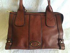 Fossil Vintage Reissue Burgundy Brown Leather Satchel Handbag VRI