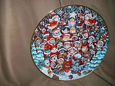 Franklin Mint Bill Bell Cat Plate Limited Edition Santa Claws Christmas