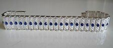 Men's Silver finish hip hop Blue stone designer look bling fashion bracelet