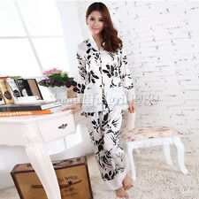 NEW Womens Silk Satin Pajamas Set Sleepwear&Robes Nightdress Nightgown P020 L,XL