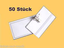 50 Stück Namensschild-Halter inkl. Nadel + Clip Namensschildhalter Visitenkarten