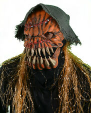 Evil Scary Great Pumpkin Scarecrow Moving Mouth Adult Halloween Costume Mask