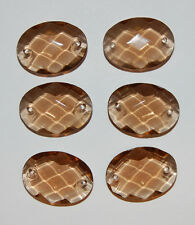 VINTAGE SMOKED TOPAZ FACETED GLASS CHANDELIER OVAL CONNECTOR BEAD OLD • 25x18mm