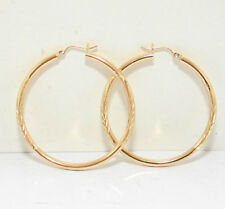 Diamond Cut Sparkly Hoop Earrings 14K Yellow Gold 2""