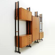 Mobile libreria con montanti in metallo anni '50, wall unit, italian, vintage