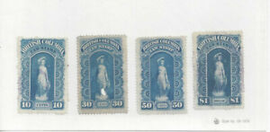 CANADA: Revenues, 1879 British Columbia Law Stamps (CRSC# BCL 1-4), used