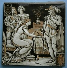 """Minton Tile """"Ravenswood and Lucy"""" from Sir Walter Scott's Bridge Of Lammermoor"""