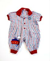 Vintage Anchors Away Steamboat Sailor Baby Plaid One-Piece Outfit 3-6 Months