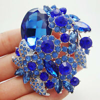 Fashion Pendant Flower Leaf Blue Rhinestone Crystal Silver-tone Brooch Pin