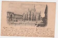 CARTOLINA 1898 MILANO PIAZZA DEL DUOMO RIF. 15108