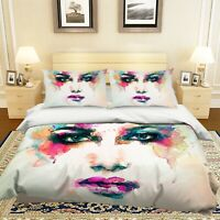 3D Woman Face ZHUA1787 Bed Pillowcases Quilt Duvet Cover Set Queen King Zoe