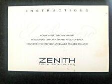 ORIGINAL GENUINE ZENITH EL-PRIMERO MANUAL/INSTRUCTION BOOK. 1999. FRENCH.