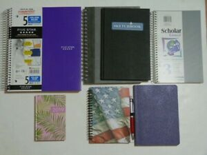 NEW* lot of 7 notebooks (3 + 5 subjects) journals FREE pan