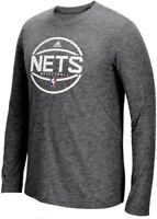 Brooklyn Nets Adidas On-Court Grey Ultimate Synthetic Long Sleeve T Shirt