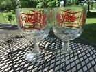 2 Vintage Advertising Miller High Life Beer Glass Thumbprint Goblets  EUC