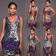 Womens Ladies Sequin Deep V Dress Party Clubwear Evening Sleeveless Midi Dress