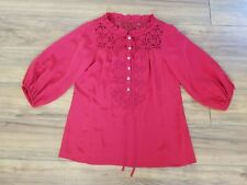 NANETTE LAPORE RED SILK Peasant Blouse TOP Laser Cut EMBROIDERED WOMENS SZ 6
