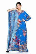 Blue Hued Floral Necklace Print Luxuriously Soft and Long Caftan