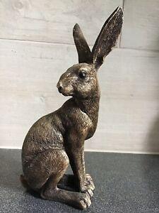Sitting Golden Hare Ornament Indoor Or Outdoor Garden Home