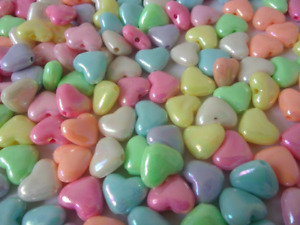 100 Opaque Pearly Acrylic Heart Beads Mixed Colour 14 x 12 x 6.5mm Crafts B5