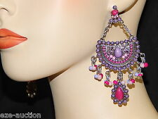 Awesome Fuchsia, Pink And Lilac Beaded Dangle Chandelier Earrings