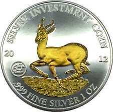1 OZ SILBER 1000 Francs CFA Gabun Springbock 2012 gilded mit Goldapplikation