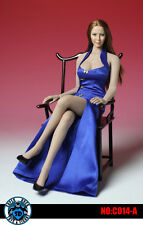 1:6 SUPER DUCK Blue Cheongsam Dress Set Clothes Shoes F/Female Phicen Body C014