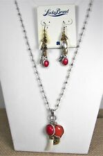 Lucky Brand Cape Town Necklace & Earring Set Giraffe Tusk Coral Charms MSRP $74