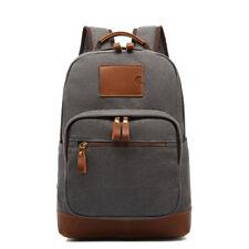 Men Vintage Canvas Leather Backpack 15.6 inch Laptop Rucksack College Travel Bag