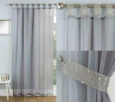 SPARKLING DIAMANTE JEWELLS TAB TOP WITH FREE TIEBACK GREY VOILE CURTAIN PANEL