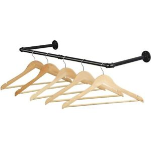 """Industrial Pipe Clothes Rack 31.5"""" Heavy Duty Wall Mount"""