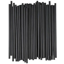 "Black Cocktail Slim Straw Stir Sip 5"" (1000) Free Shipping US Only"