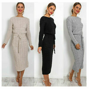 Women's Cable Knitted Jumper Ladies Long Sleeve Tie up Maxi Midi Dress.