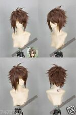 Hakuouki Okita Souji Ver2 Brown Short Straight Cosplay Wig Hair Synthetic Wigs
