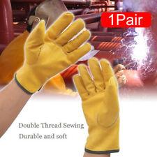 1 Pair Women Men Heavy Duty Gardening Welding Gloves Thorn Proof Cowhide Leather