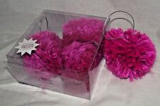 Crafts Pink Pompoms Ornament Hanging Bright Fluffy Soft 4 Christmas Funky NEW