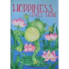 """Hoppiness Lives Here 12.5"""" X 18"""" Garden Flag 27-2881-136 Flip It! Rain Or Shine"""